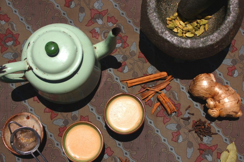 Tea pot and chai ingredients