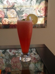 Coconut water and strawberry mocktail