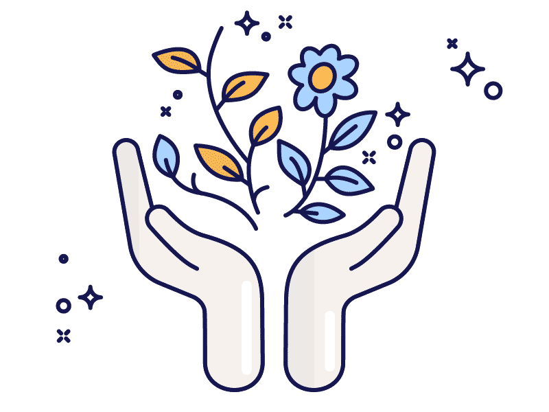 Icon of hands open cradling growing plant and flower to represent personal growth.