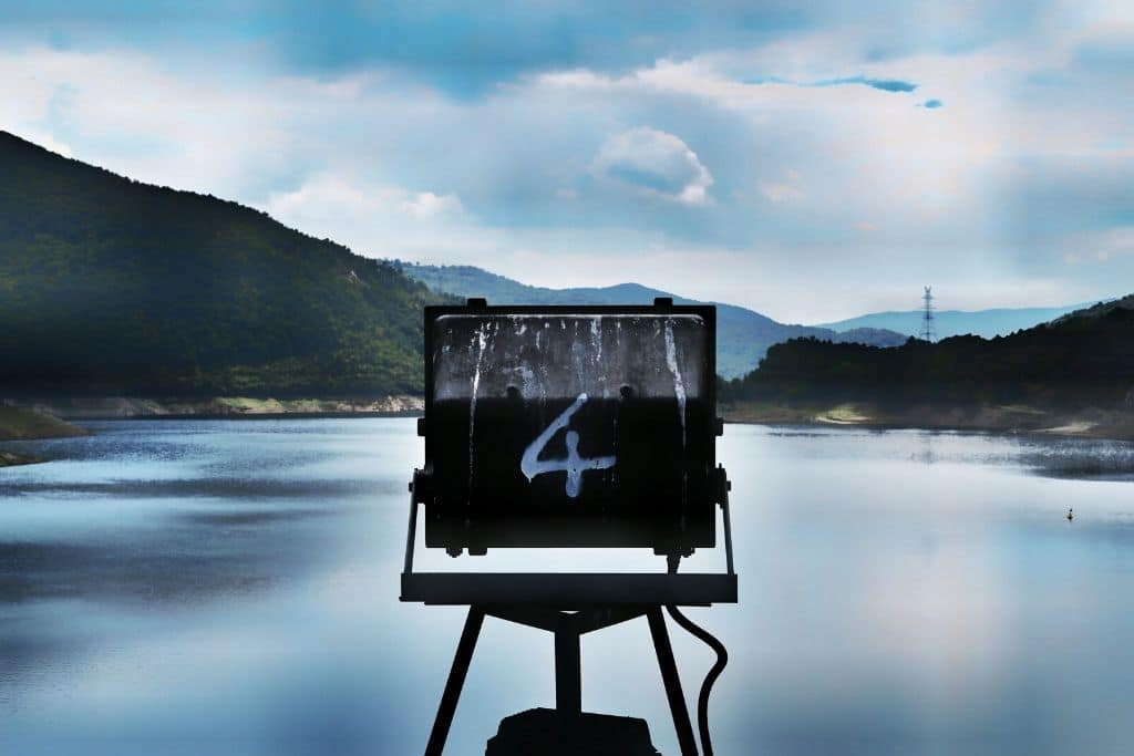 4 on a sign in a lake