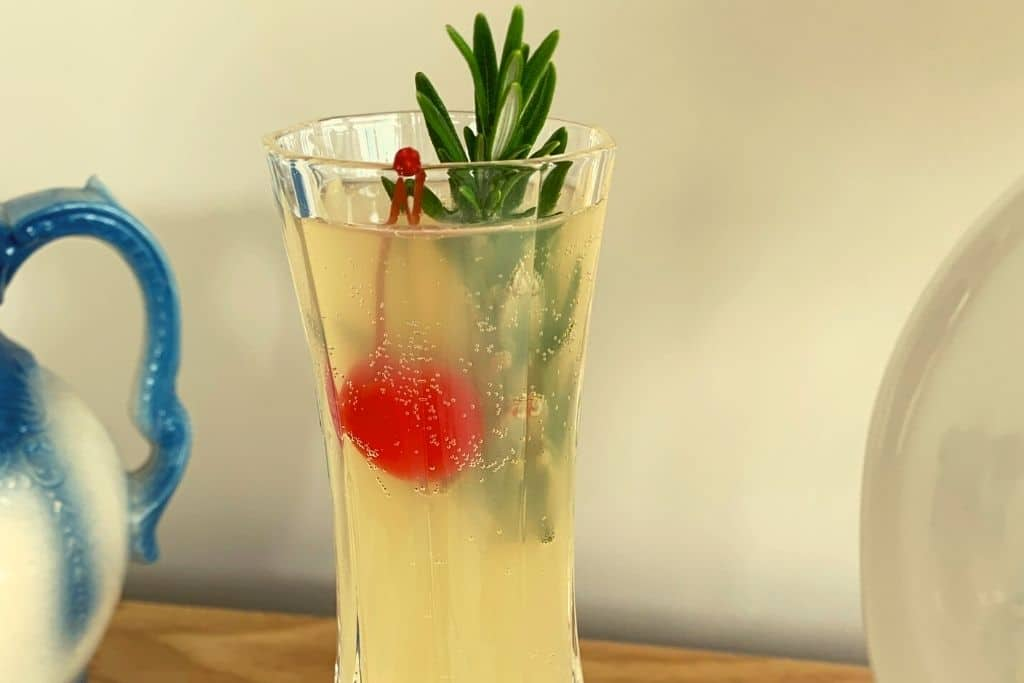 drink with rosemary & cherry